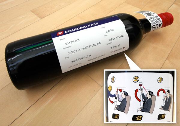Boarding Pass Shiraz, ciekawa etykieta, karta pokładowa, ciekawe wino