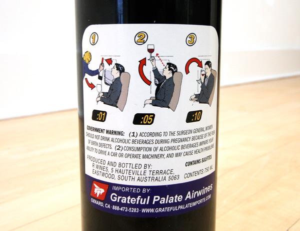 Boarding Pass Shiraz, ciekawa etykieta, etykieta na wino, ciekawe wino, shiraz 2005